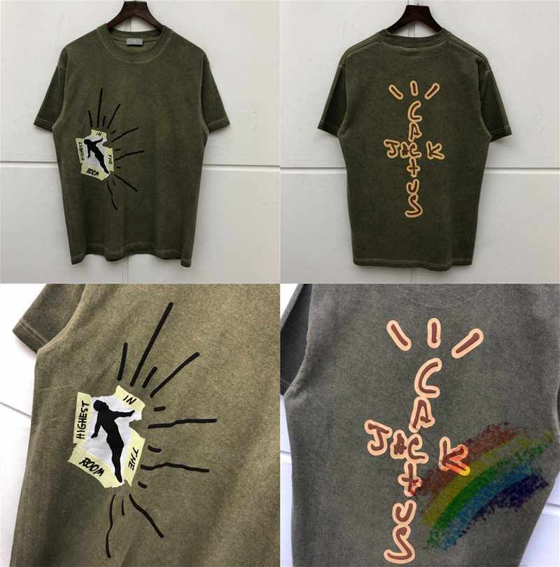 Travis Scott Cactus Jack Highest In The Room T Shirt Men Women 1:1 High Quality Travis Scott ASTROWORLD T-shirt Top Tees