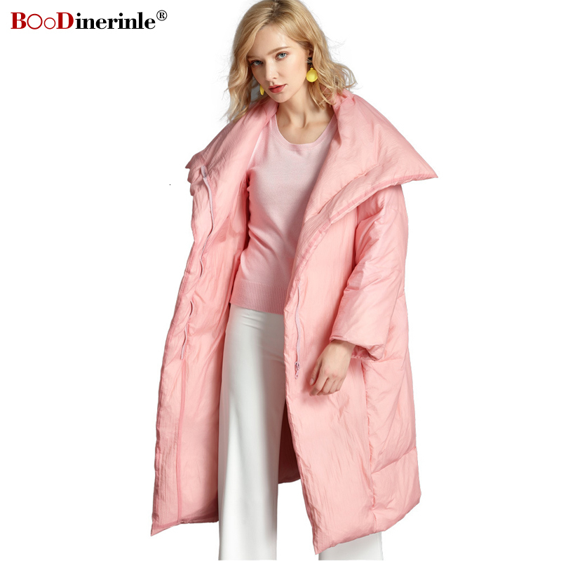 BOoDinerinle Plus Size 6XL Women's   Down   Jackets Casual Loose Pink Long White Duck   Down     Coats   Warm Big Pocket Parkas Women 2019