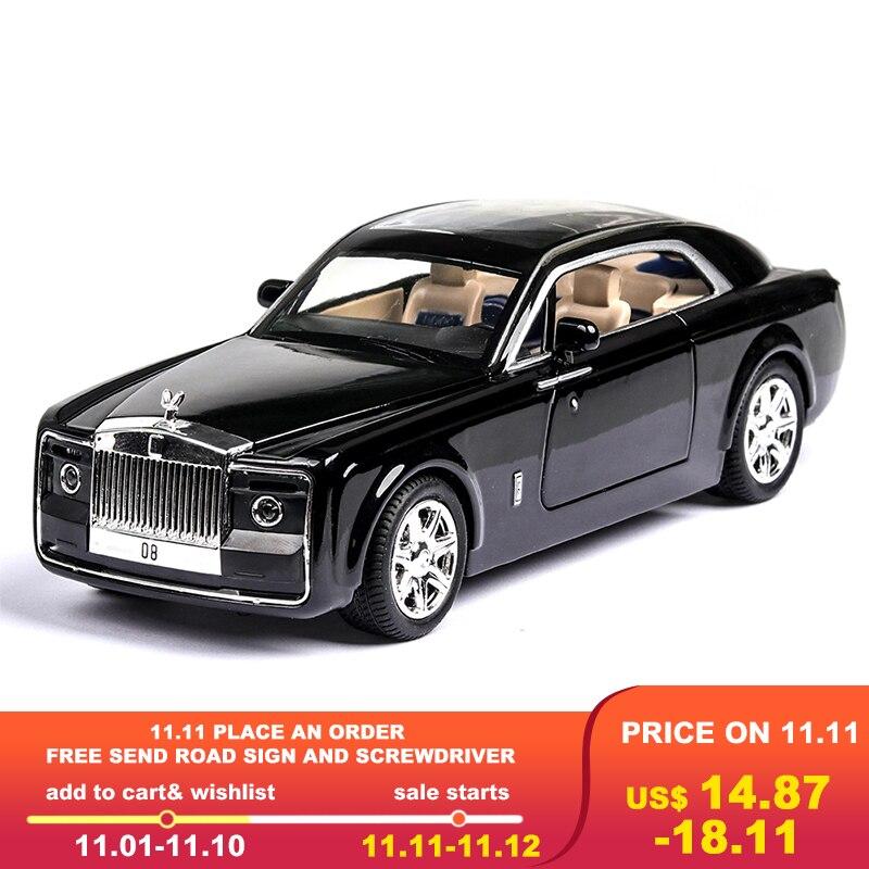 1:24 Diecast Toy Vehicl Rolls Royce Phantom Huiying Model Car Wheels Alloy Sound Light Pull Back Car Boy Kid Toys Cars Toy Car