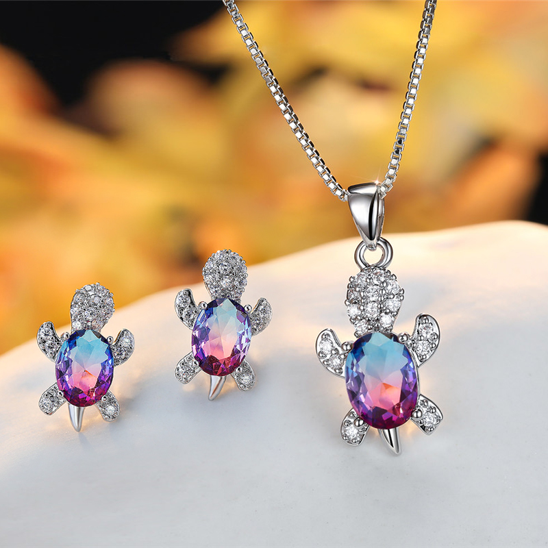 Blue Purple Oval Zircon Turtle Stud Earrings and Chain Necklaces For Women Wedding Jewelry Sets Rainbow Crystal Stone Bridal Set