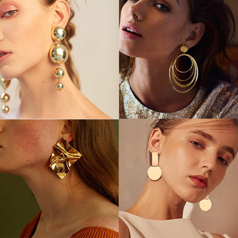 Big Gold Statement Earrings For Women Metal Trendy Luxury Female Fashion Jewlery Top Design Vintage Hanging Earrings