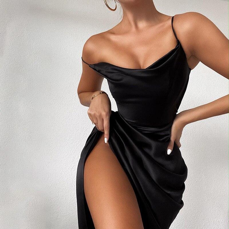 Satin 2021 Frühling Sexy Kleid Frauen Satin Party Schwarz Hight Seite Split Mini Kleid Weibliche Geraffte Dünne Elegante Kleider