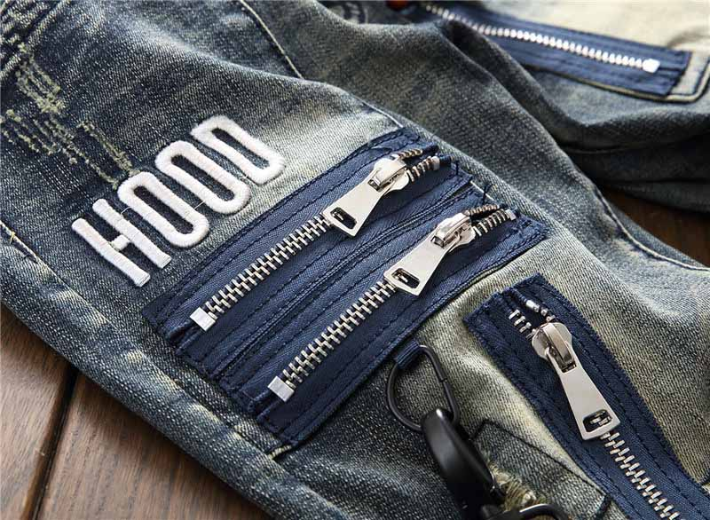 Mcikkny Fashion Men`s Hip Hop Ripped Jeans Pants Multi Zipper Patchwork Denim Trousers For Male Letter Embroidered (8)