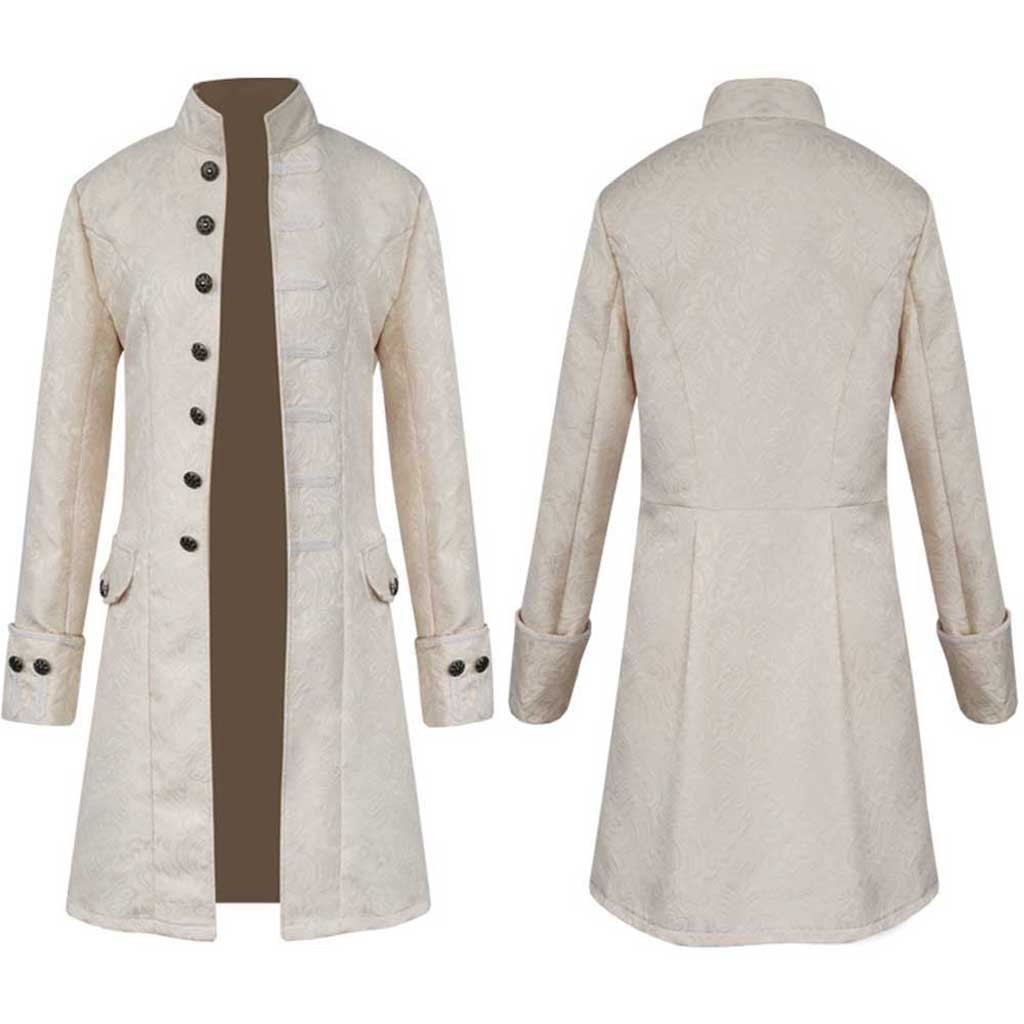 Haf90530e15ac4aa594505c072ecec906R Men Trench Coat Steampunk Jacket Medieval Costume Men Long Sleeve Gothic Brocade Jacket Frock Vintage Stand Collar Men's Coat