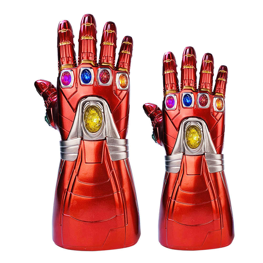 Thanos marvel infinity gauntlet 슈퍼 히어로 아이언 맨 장갑 cosplay avengers led glove kids 성인 뉴