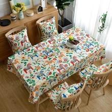 Vintage Animal Paradise Rectangular Tablecloth Cotton Printed Wedding Palace Circus Tablecloths Decoration Tea Table Cover