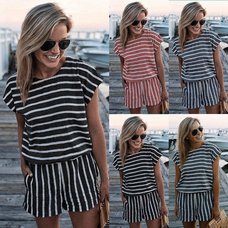 AliExpress 2018 Europe And America New Products Stripe Short Sleeve Onesie Set