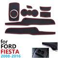 Anti-SLIP ยางเบาะรองนั่งประตู Groove สำหรับ Ford Fiesta MK6 MK7 ST 2008 ~ 2016 2009 2010 2013 2015 อุปกรณ์เสริมสำหรับโทรศัพท์