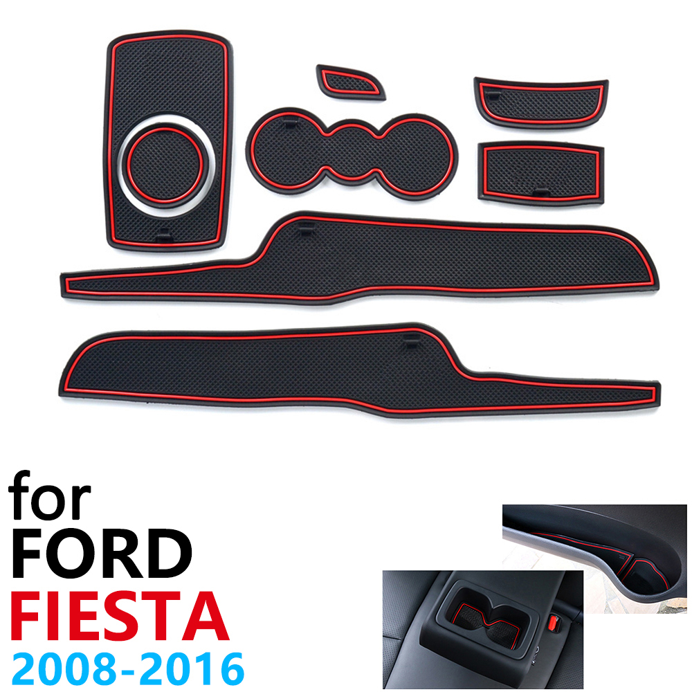Anti-Slip Rubber Cup Cushion Door Groove Mat For Ford Fiesta MK6 MK7 ST 2008~2016 2009 2010 2013 2015 Accessories Mat For Phone