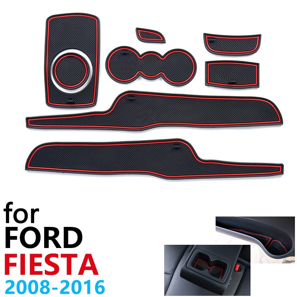 Anti-dérapant En Caoutchouc Coussin de Tasse Porte Rainure Tapis pour Ford Fiesta MK6 MK7 ST 2008 ~ 2016 2009 2010 2013 2015 Accessoires tapis pour téléphone