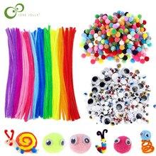 Плюшевая палочка/помпоны/бегающие глазки Googly радужные цвета Shilly-Stick Развивающие игрушки DIY художественные игрушки для детей GYH