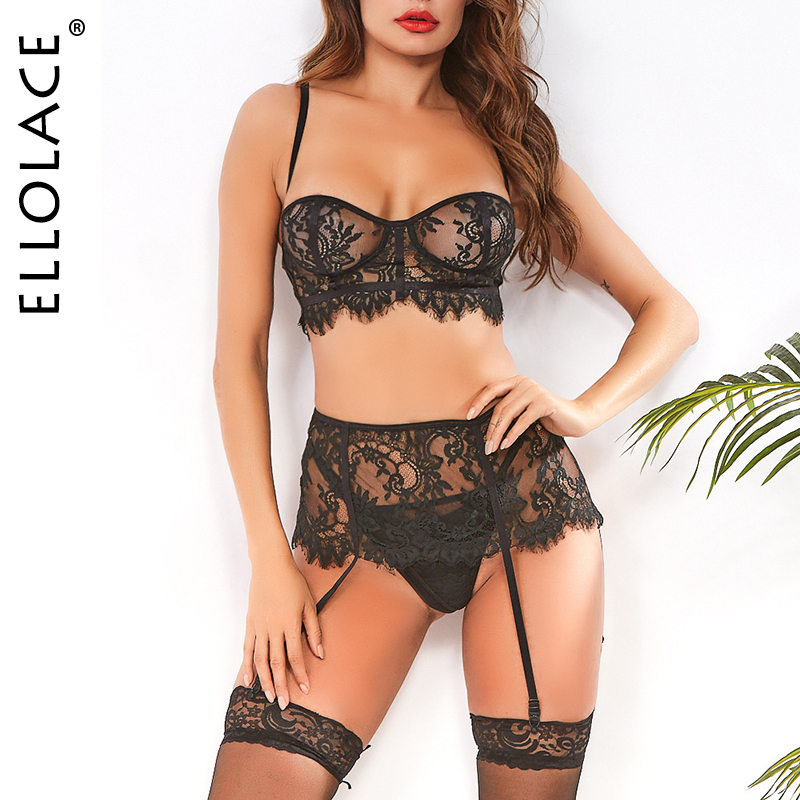 Ellolace Lace Lingerie Underwear Set Women Bra And Party Sets Female Bra Sets Sexy 3 Piece Set Lace Sets 2020 Fashion Wholesale