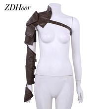 Women Men Body Shoulder Harness Belt Gothic Steampunk PU Leather Shoulder Armors with Arm Strap Clubwear Cosplay Knight Costumes