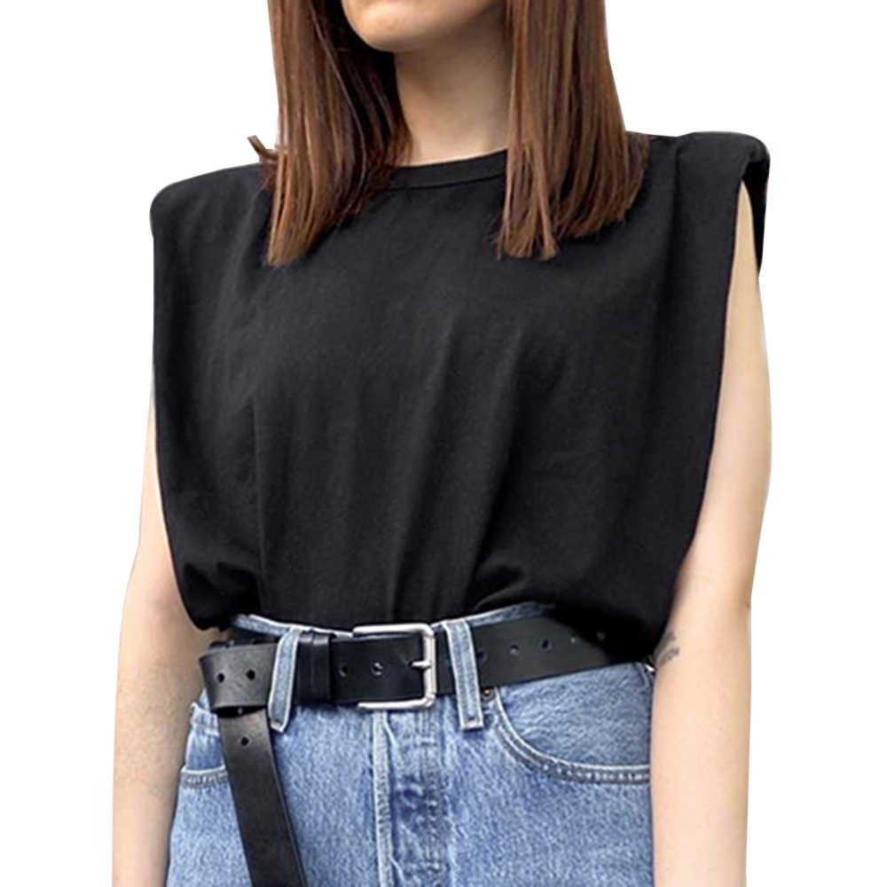 Sfit 여름 민소매 탑 여성 O 넥 화이트 여성 블라우스 셔츠 숙녀 느슨한 솔리드 칙 캐주얼 블라우스 블랙 코튼 브라운