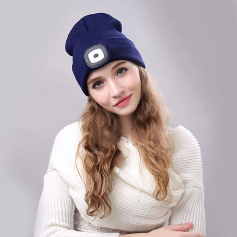 Beanies Hats With LED Light Unisex Outdoor Cycling Hiking Knitted Hat Winter Warm Elastic Beanie Cap