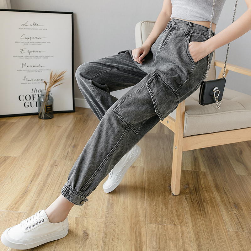 Streetwear High Waist Cargo Jeans Woman Spring Autumn Plus Size gray Mom jeans Ladies women Denim pants Loose jeans mujer