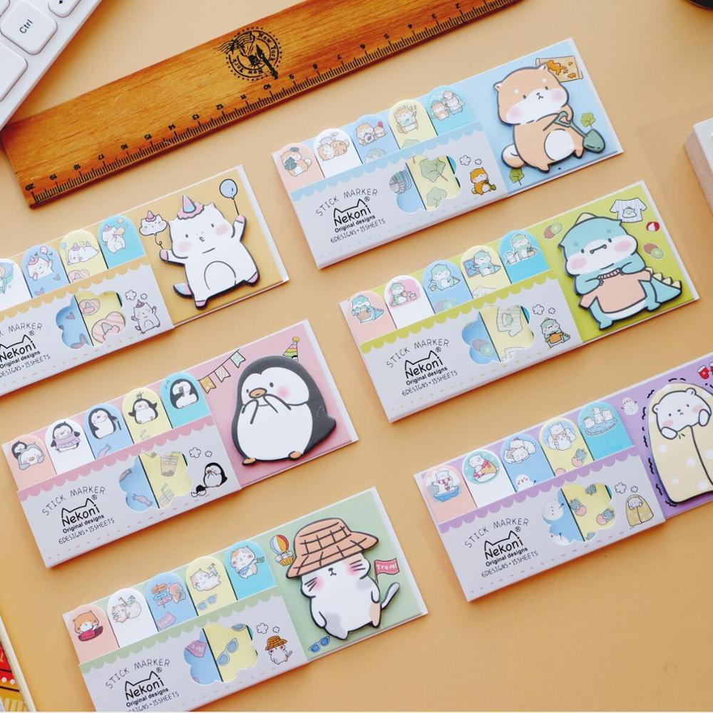 Cat Penguin Unicorn Dinosaur Memo Pad Sticky Notes Escolar Papelaria School Supply Bookmark Label