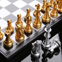 25/32cm xadrez medieval conjunto xadrez 32 peças de xadrez prata ouro magnético tabuleiro jogo xadrez figura define szachy verificador com caixa