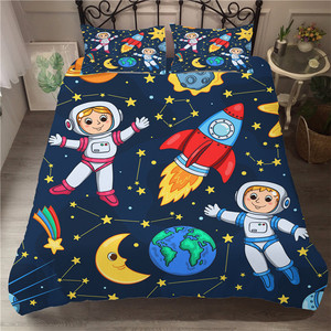 Wishstar 3D Space Series Children Cartoon Bedding Single Bed Linen For Kid Duvet Cover Set Planet Pattern Boys Bed Cloth