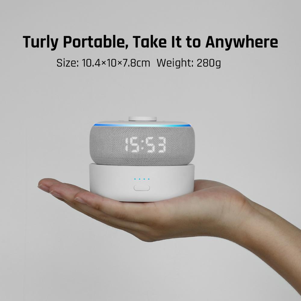 2020 Version GGMM D3+ Battery Base 10000mAh Charging Station For Amazon Echo Dot 3rd Gen Power Bank For Smart Speaker 16H Play 2