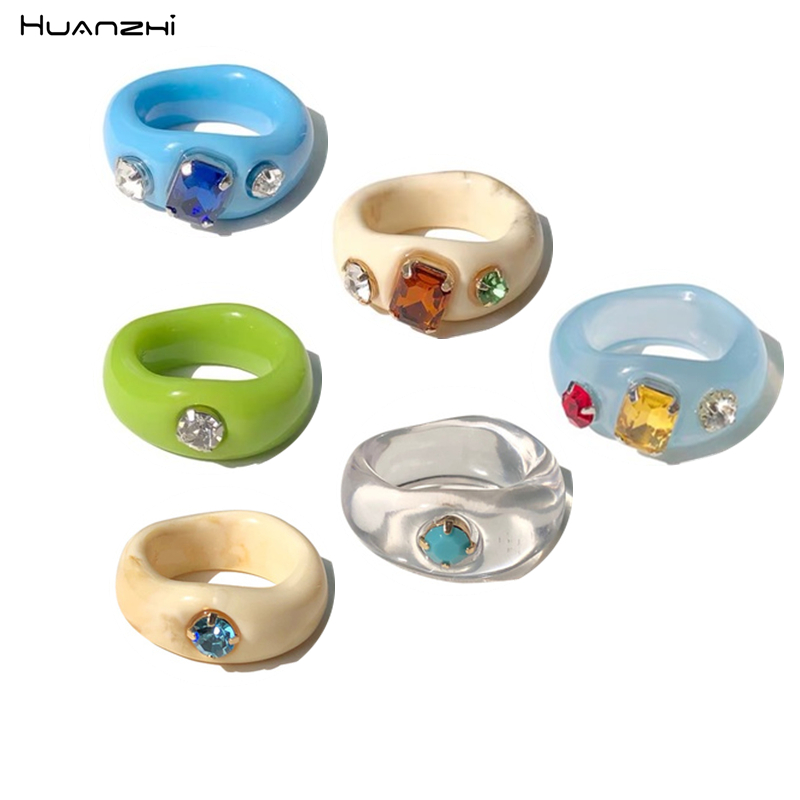 New Colorful Transparent Acrylic Rhinestone Resin Ring Geometry Simple Rings for Women Girls Jewelry Party Gifts HUANZHI 2020