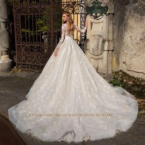 Image 2 - 長袖アップリケレース a ラインのウェディングドレス vestido ブランコボタン床の長さの王女のウェディングドレス血