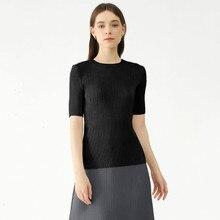 Women's T-Shirt Summer 2021 New Round Neck Short Sleeved Slim Elastic Miyake Pleated Korean Style Comfortable Plus Size Tops