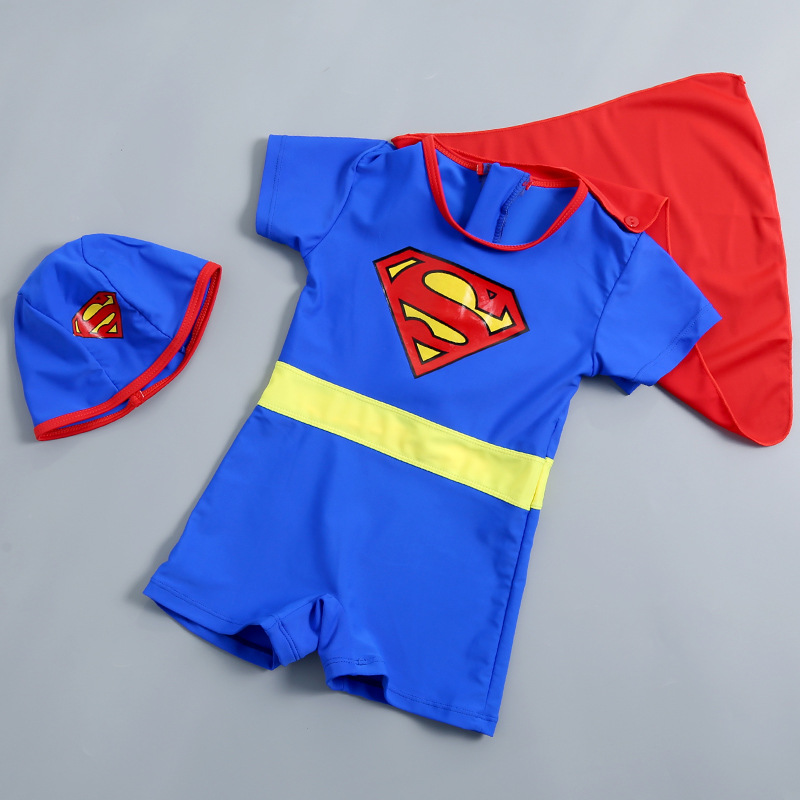 Superman Bathing Suit Children Deconstructable Mantle BOY'S Tour Bathing Suit Zipper One-piece Boxer Hot Springs Swimwear Medium