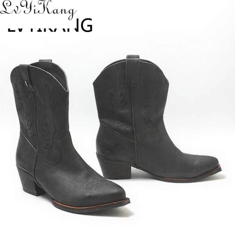 LVYIKANG 2019 yeni klasik işlemeli batı kovboy çizmeleri kadınlar için deri Cowgirl çizmeler düşük topuklu ayakkabı diz yüksek kadın botları