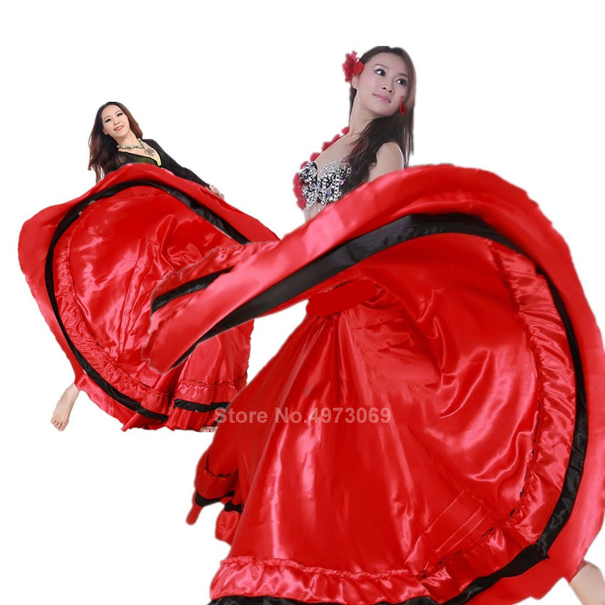 Satin Smooth Plus Size Flamenco Skirt Traditional Spanish Bullfight Festival Gypsy Women Girl Belly Dancing Costumes Performance