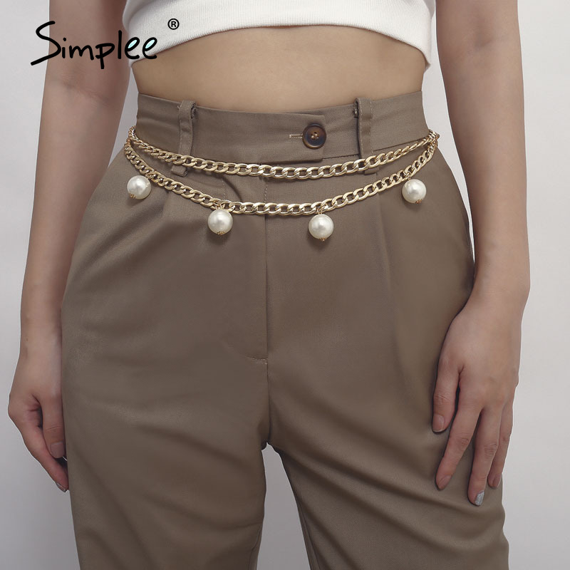 Simplee Faux Pearl Dress Belt Women Fashion Best Match Apparel Female Waistband Chain Belt Chic Party Club  Ladies Accessories