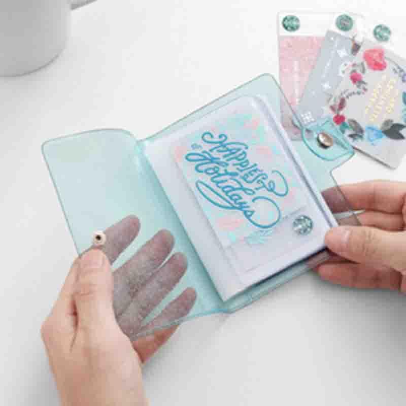 8.7x11.4cm Album Photo PVC Portable paillettes Album Photo Transparent gelée couleur Album pour sac affaires porte-carte Photo carte