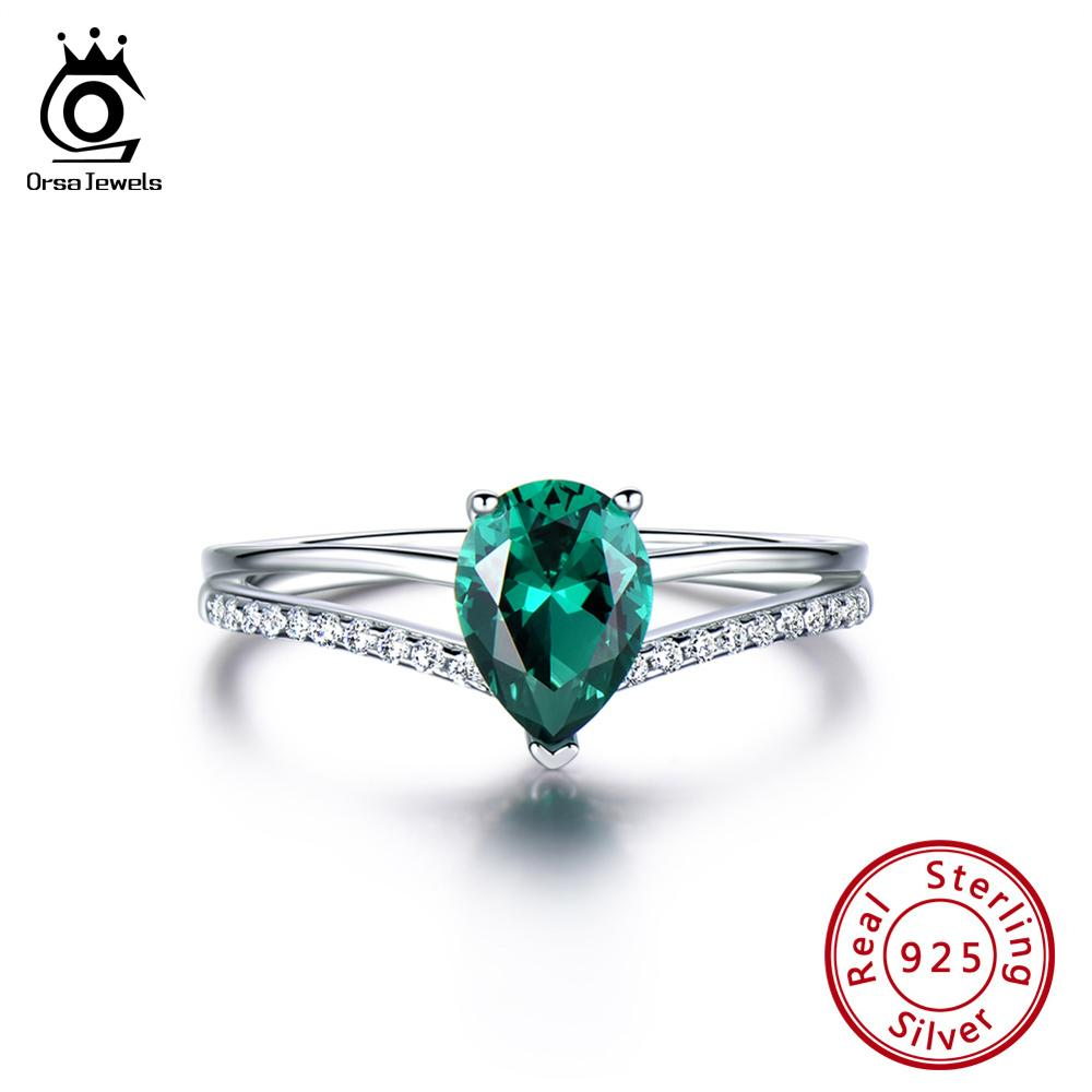 ORSA JEWELS Newest Genuine 925 Engagement Emerald Ring Water Drop Shape Sterling Silver Anniversary Ring Exquisite Jewelry VSR15