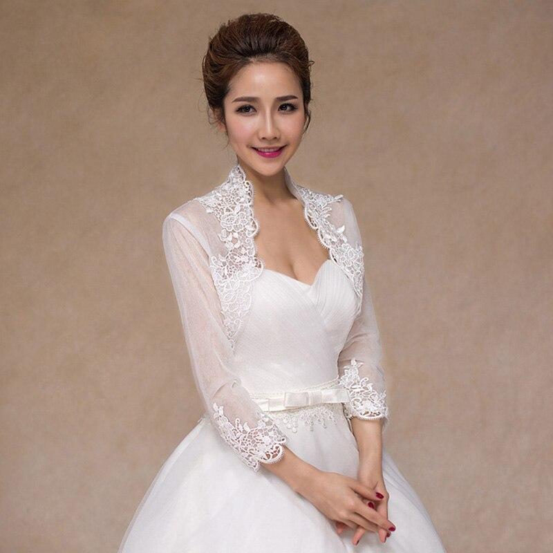 Long Sleeve Bolero Wedding Lace Wedding Coat Jacket Appliqued Veste Mariage Femme Bride Lace Bolero