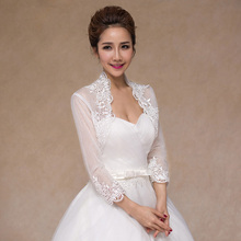 Long Sleeve Bolero Wedding Lace Coat Jacket Appliqued Veste Mariage Femme Bride