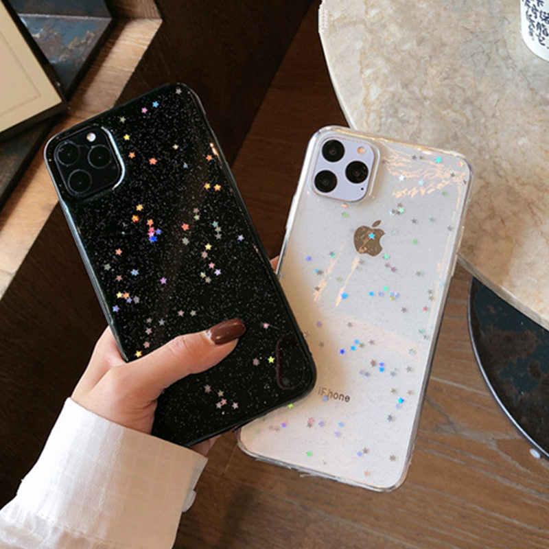 Ottwn ブリンブリンスター tpu 電話ケース iphone 11 pro x xr xs 最大 7 8 6 6s プラス se 2020 透明パウダー裏表紙