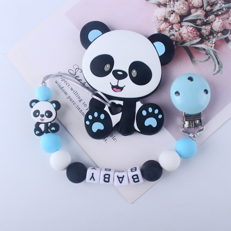 Newest Personalized Name Cartoon Panda Silicone Teething Chain Infant Baby Feeding Pacifier Strap Chain