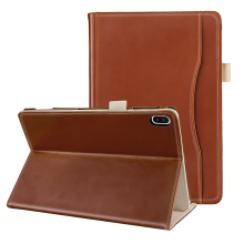 For Samsung Galaxy Tab S6 10.5 Inch SM-T865N PU Tablet Case Magnetic Closure Flip Stand Protector with Pocket Hand Strap