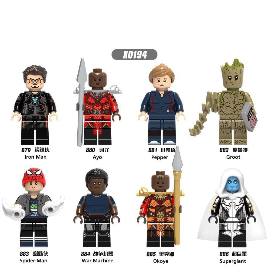 Building Blocks Bricks Marvel Super Heroes Supergiant Spiderman Pepper Ayo Iron Man War Machine Gift Toys For Children DIY X0194