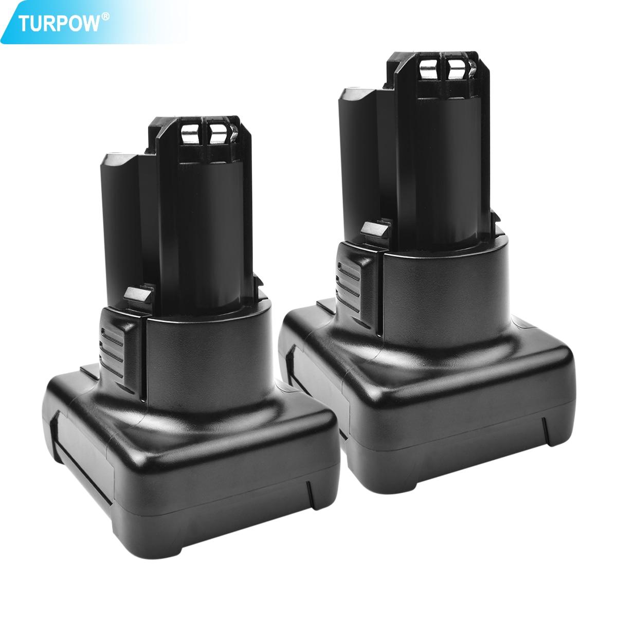 Turpow 2pack 6.0Ah 12V Li-ion BAT411 Rechargeable Battery For Bosch BAT411 BAT412A BAT413A  2607336013 2607336014 Battery