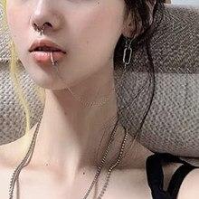 Boucles d'oreilles Punk en métal pour femmes, longues pampilles, Cool créatif Unique géométrique Simple, boucles d'oreilles tendance, bijoux Harajuku, 2020
