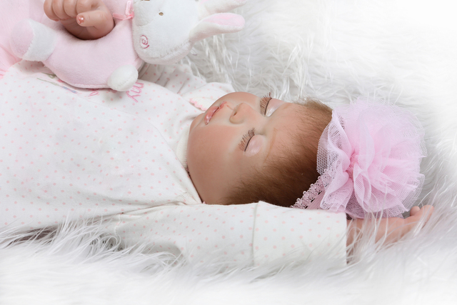 Pink Sleeping Bebe Doll Reborn Baby Soft Silicone Hand Rooted Hair 6