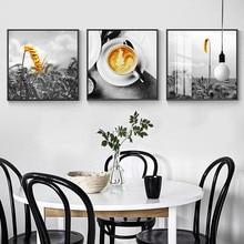 Taza de café de la mañana cuadro decoración del hogar arte de la pared lienzo nórdico pintura moderna decoración amarilla arte impresión y póster para la vida habitación