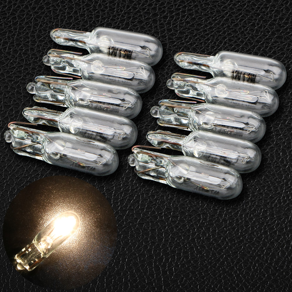 10pcs LED Lamp 12V 1.2W Car-styling Light Source T5 286 Halogen Bulb Side Wedges Lights Car Instrument Lamp Warm White Color