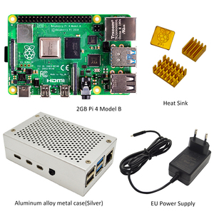 Image 2 - Raspberry Pi 4 model B 2GB Kit   2GB RAM With Pi 4 B aluminum alloy case (Black or Sliver) and the heat sink Cooling Kit