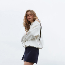 2019 New Dress Fashion Academic Embroidered Single Shoulder Hollow Loose Womens Crewneck Pullovers Sweatshirt Women