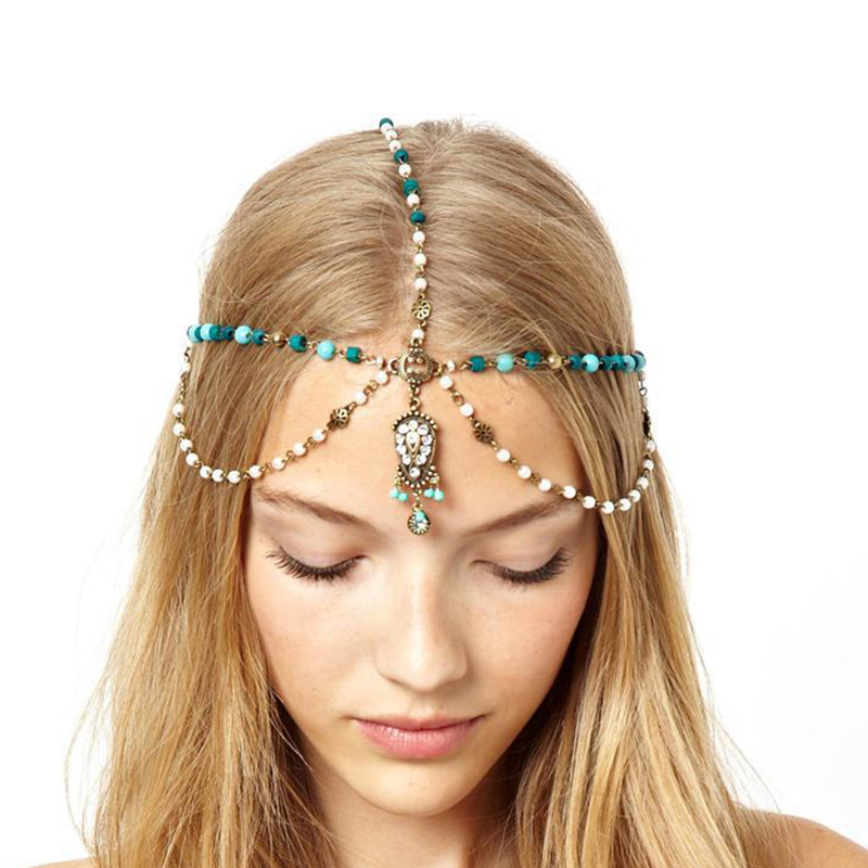 Water Droplets Hairwear Chain for Women Bohemian Pearl Jewelry Charm Green Stone Simple Gothic Hair Cuff Headband Multi-layer Tassel Headdress