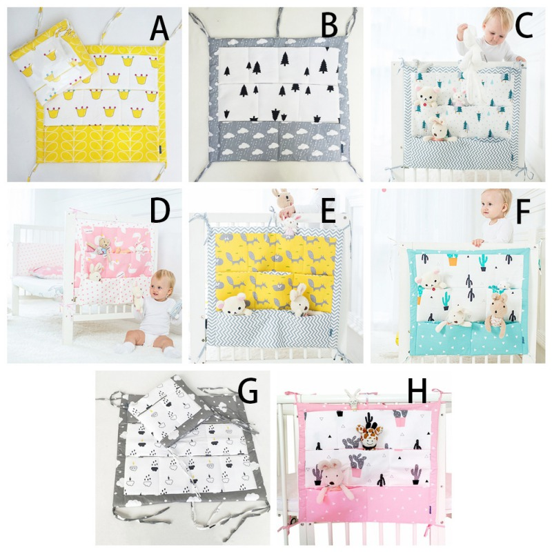 Muslin Bed Hanging Storage Bag Baby Crib Bed Brand Baby Cotton Crib Organizer 60 * 50cm Toy Diaper Pocket For Crib Bedding Set M