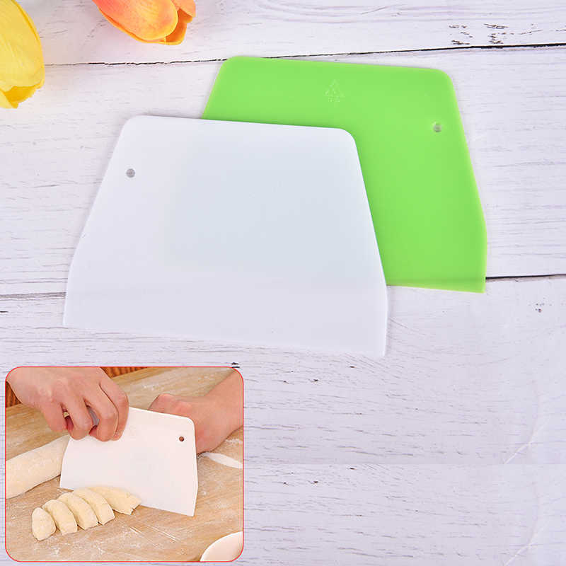 Plastic Cake Cream Spatula Dough Knife Cutter Butter Batter Scraper Decorating Plain Smooth Edge Spatulas Baking Pastry Tools