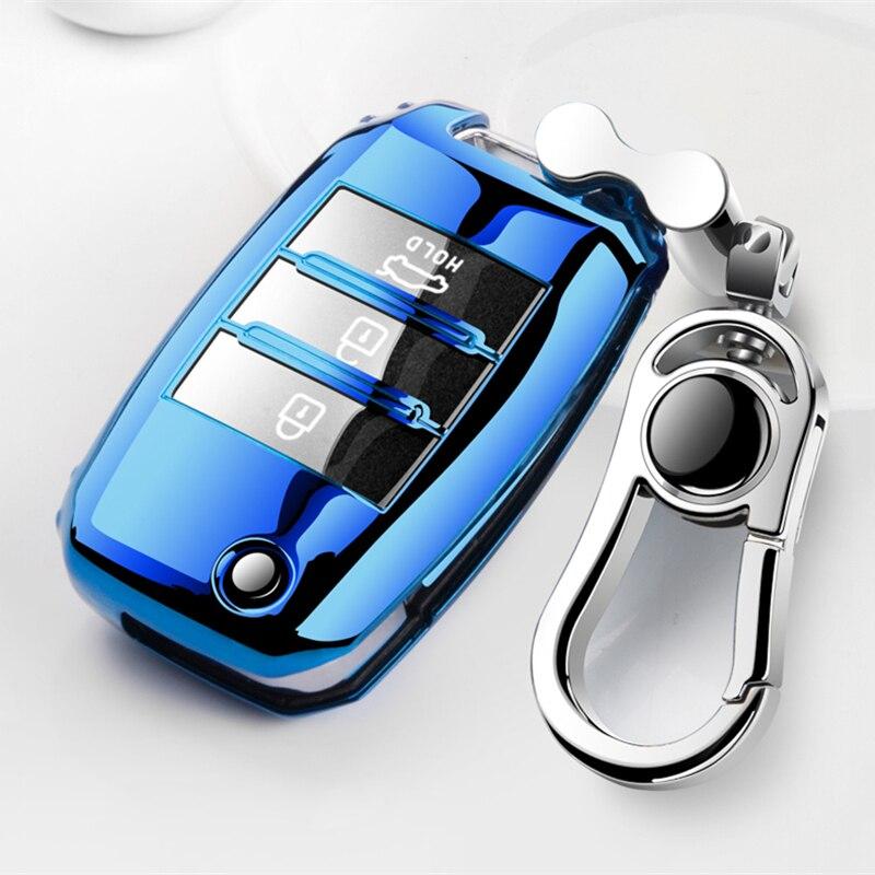 Piękna pełna pokrywa nowa miękka TPU obudowa kluczyka do samochodu shell dla Kia Rio QL Sportage Ceed Cerato Sorento K2 K3 K4 K5 akcesoria samochodowe